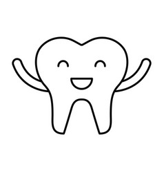 Happy healthy tooth character icon vector