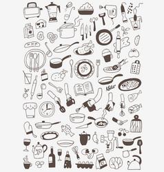 Cookery food - doodles set vector
