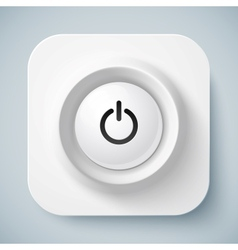 White rounded square icon with power button vector image