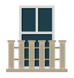 Balcony balustrade with window i icon isolated vector
