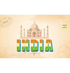 Taj mahal in india background vector