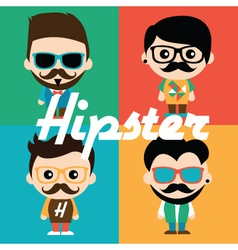 Cute of characters in hipsters vector