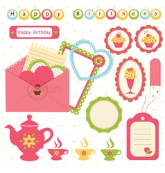 Birthday scrapbook set 2 vector