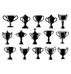 Sport and achievement trophy cups vector