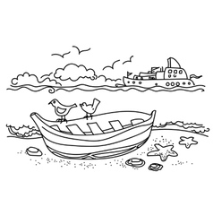 Sailing boat hand drawn vector