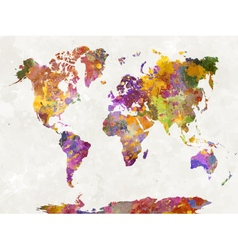 World map in watercolor multicolor vector