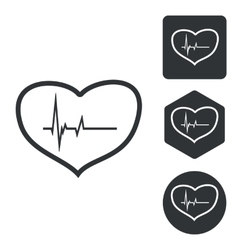 Cardiology icon set monochrome vector