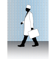Doctor with first-aid kit vector