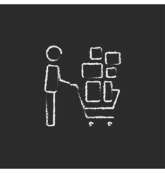 Man pushing shopping cart icon drawn in chalk vector