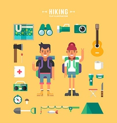 Set of icons and in flat design style hiking vector