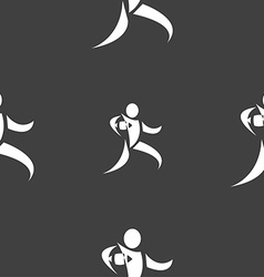 Rugby player running with ball icon sign seamless vector