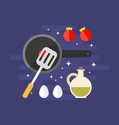 Cooking concept ingredients for omelette with vector