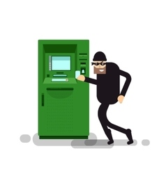 Isolated thief steals money from atm vector