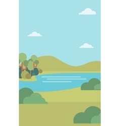 Background of landscape with hills and river vector image vector image
