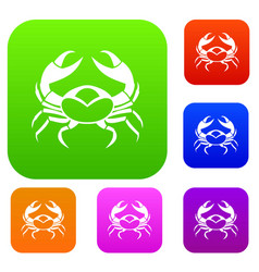 big crab set color collection vector image vector image