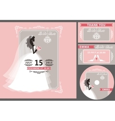 Bridal shower template setbride silhouetteframe vector