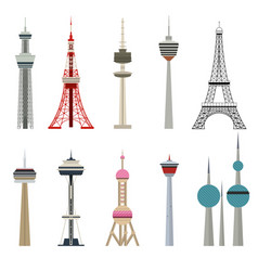 cartoon color high towers collection vector image vector image