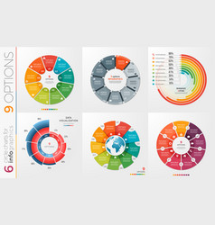 Collection of 6 circle chart templates 9 vector