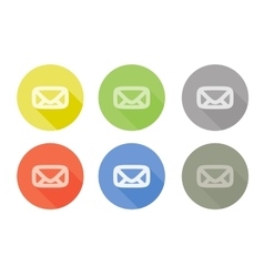 Collection of mail letter symbol rounded icon with vector image