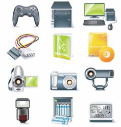 computer parts icon set vector image vector image