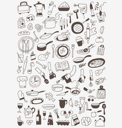 cookery food - doodles set vector image