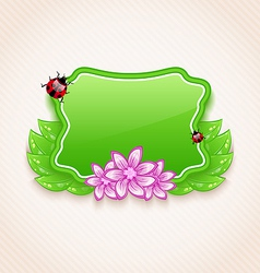 Cute spring card with flower leaves lady-beetle vector image vector image