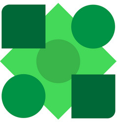 geometric shapes of green shades on white vector image vector image
