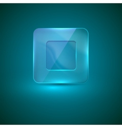 glass icon with stop sign vector image
