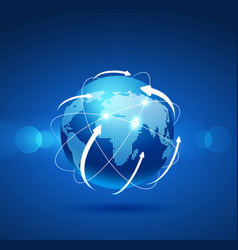 globe network connection vector image vector image
