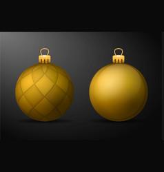 Golden christmas balls with golden holders set of vector