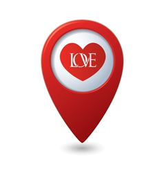 Heart icon with love on the red map pointer vector image