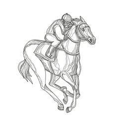 Horse racing jockey doodle art vector