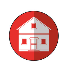 House facade residential estructure blue circle vector