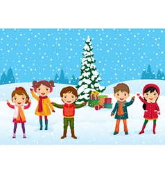 kids christmas time vector image vector image