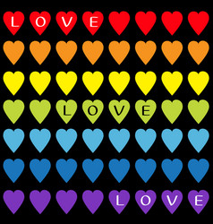 love text rainbow heart set gay flag color vector image vector image