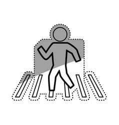 Man silhouette walking crosswalk vector