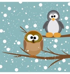 owl and penguin vector image vector image
