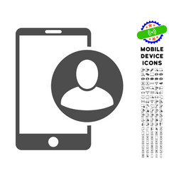 Phone user profile icon with set vector