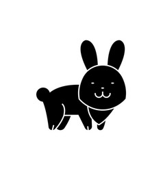 rabbit cute icon black sign vector image