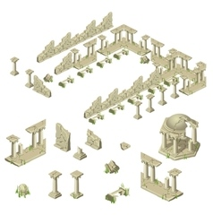 Ruins of the city walls columns and gazebos vector