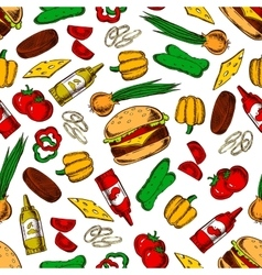 Seamless cheeseburgers with ingredients pattern vector