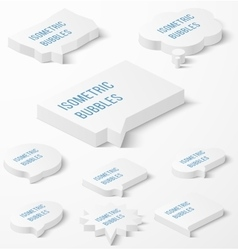 Set of white isometric bubbles with drop shadow vector image