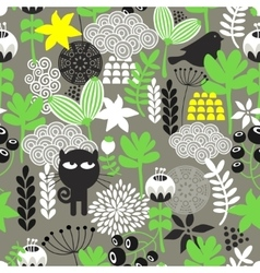 Spring time seamless pattern with cute hunter cat vector image vector image