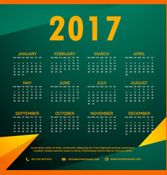 stylish 2017 calendar design with abstract shapes vector image vector image