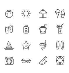 Summer icons and Beach icons vector image