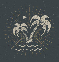 Vintage label hand drawn palm trees grunge vector