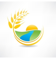 wheat field near the river icon vector image vector image