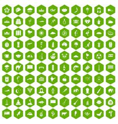 100 exotic animals icons hexagon green vector