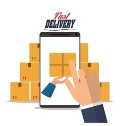 Smartphone hand box package delivery icon vector