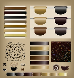 Coffee set of ribbons vector